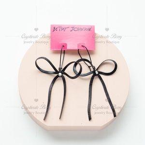 Betsey Johnson Black Bow Glass Stone Drop Earrings